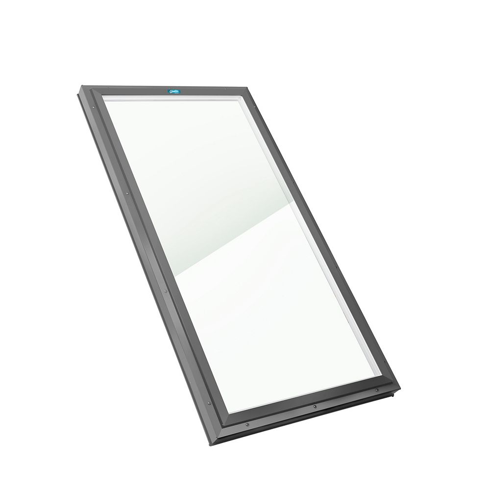 Columbia Skylights 2ft 8in x 6ft Fixed Curb Mount LoE3 Double Glazed Clear Glass Skylight with Grey Frame