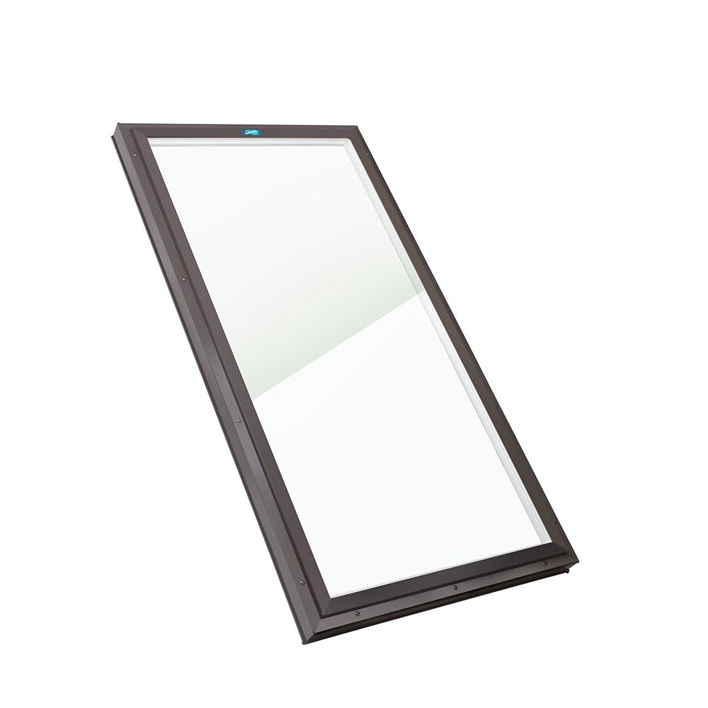 Columbia Skylights 2ft 8in x 6ft Fixed Curb Mount LoE3 Double Glazed Neat Glass Skylight with Brown Frame