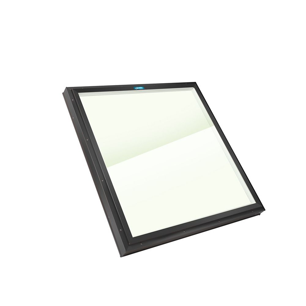 Columbia Skylights 3ft 2 in x 3ft 2in Fixed Curb Mount LoE3 Double Glazed Clear Glass Skylight with Black Frame