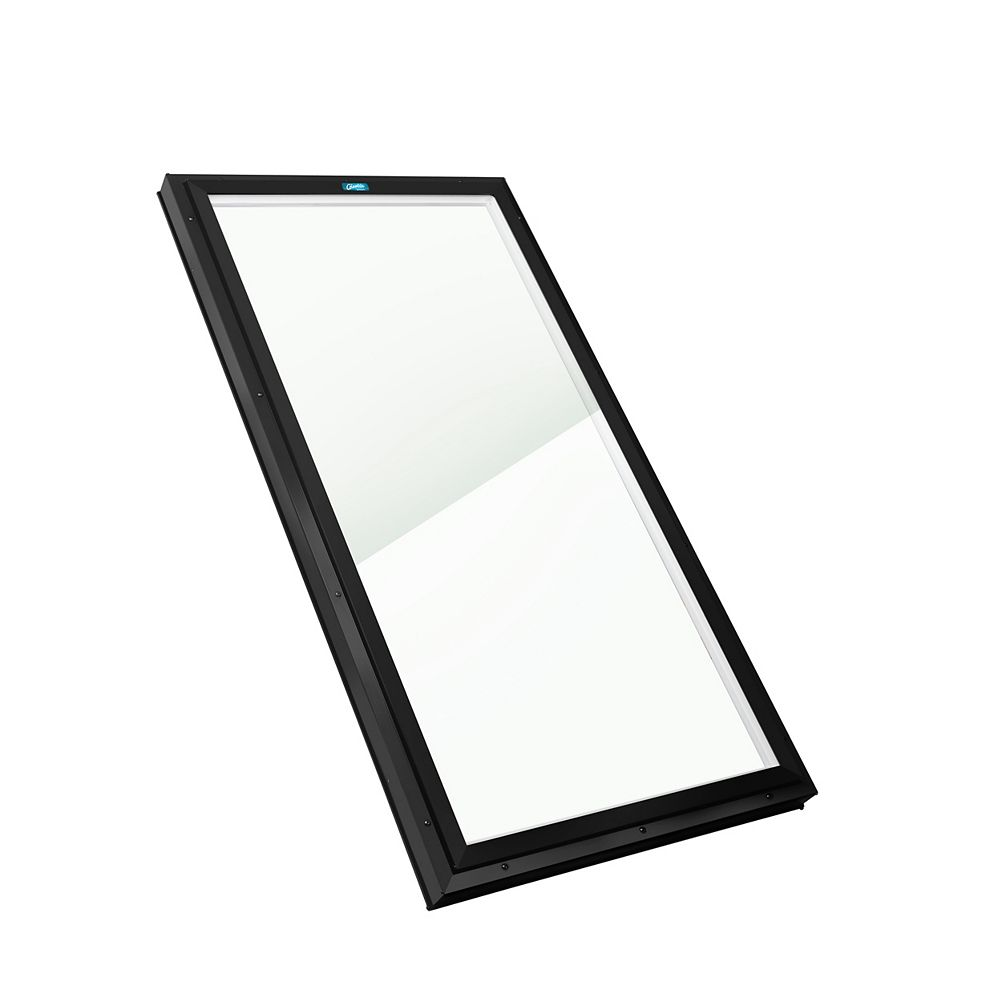 Columbia Skylights 2ft x 6ft Fixed Curb Mount LoE3 Double Glazed Clear Glass Skylight with Black Frame