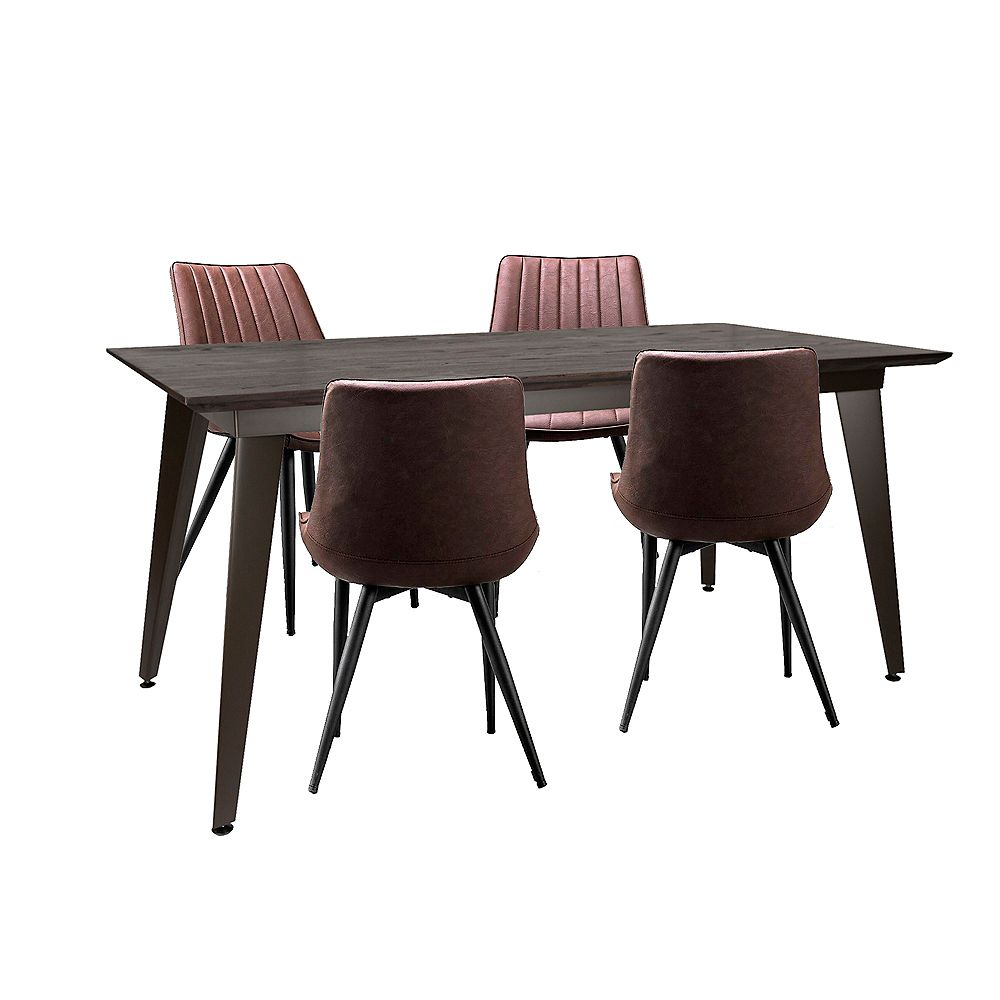 """Bronte Living 5 piece Rectangular Dining Set 63""""X31"""" with Espresso table and 4 dark brown leatherette chairs"""