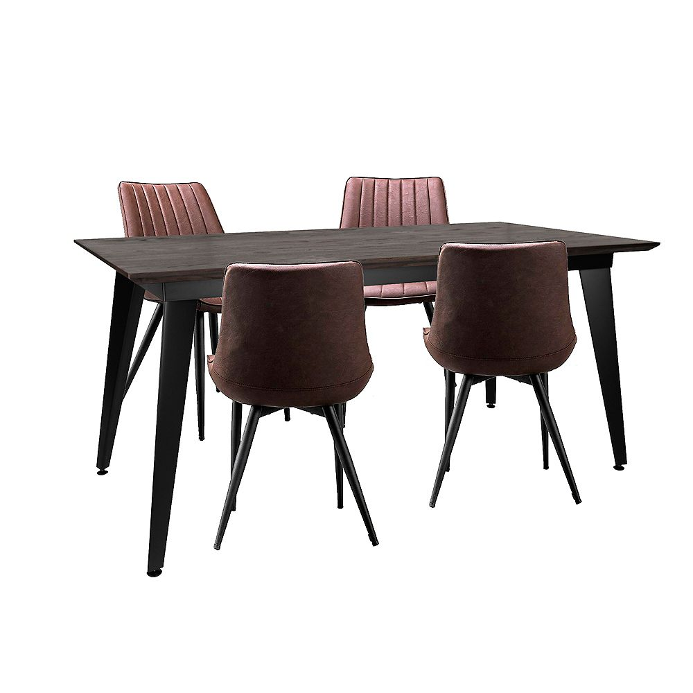 """Bronte Living 5 piece Rectangular Dining Set 63""""X31"""" with matte black table and 4 dark brown leatherette chairs"""