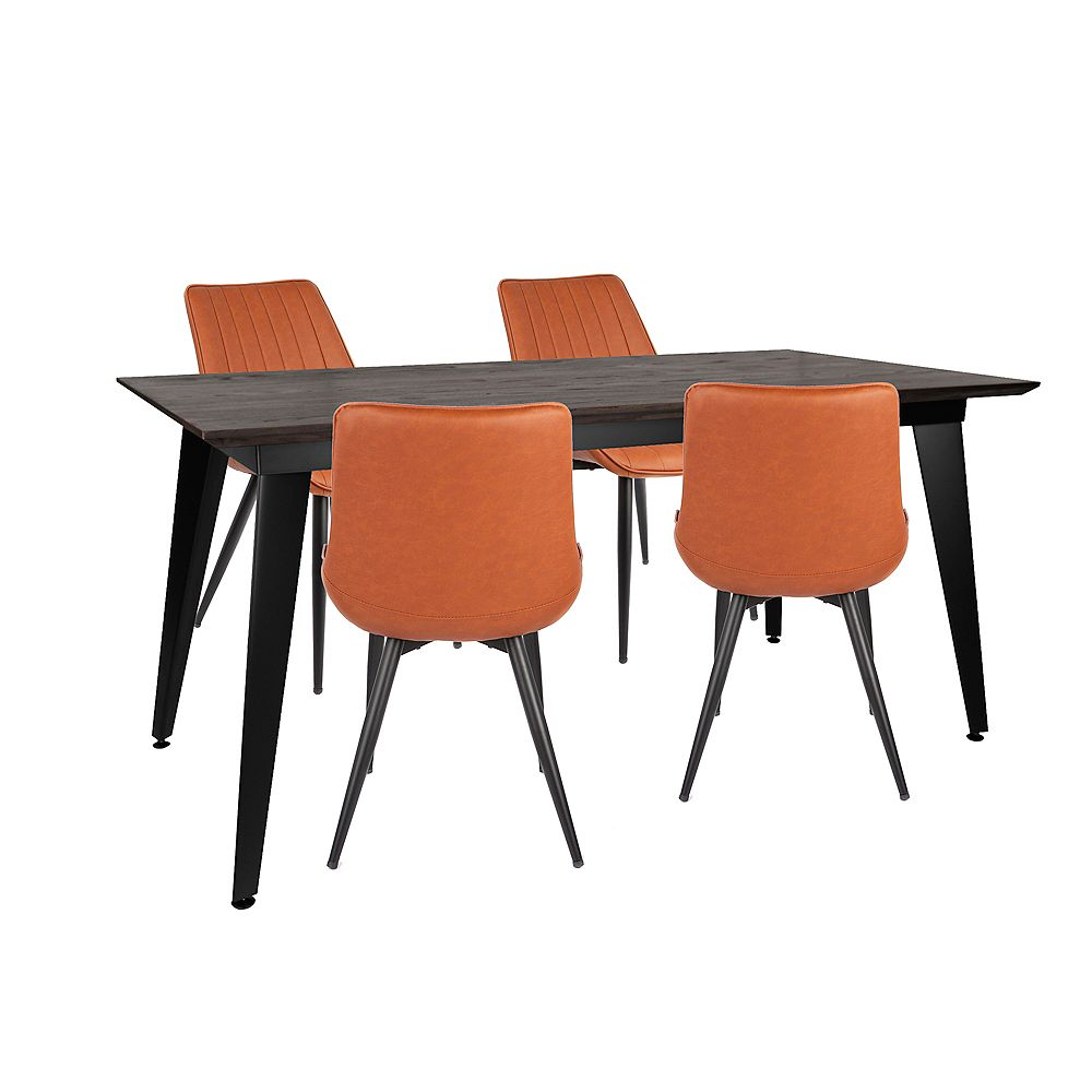 """Bronte Living 5 piece Rectangular Dining Set 63""""X31""""with matte black table and 4 caramel brown leatherette chairs"""
