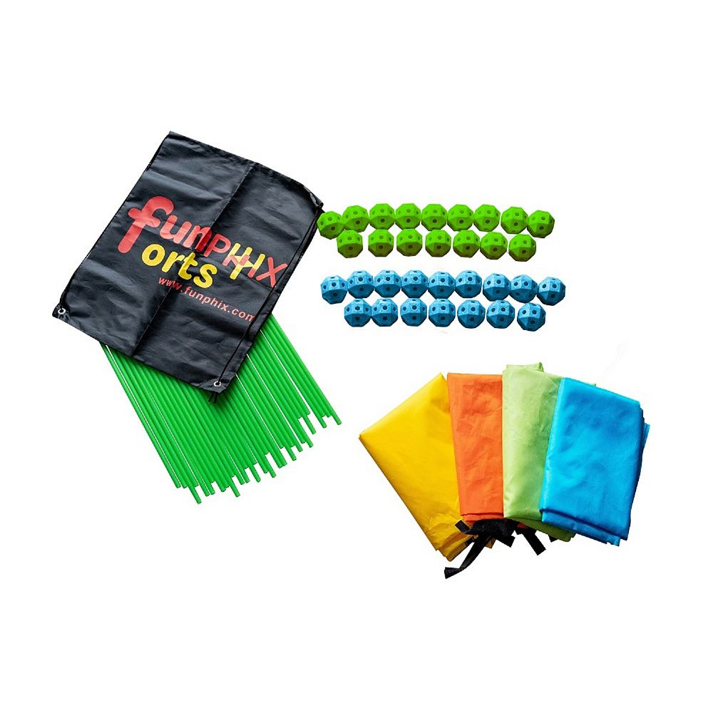 Funphix Corp Funphix Fort 154 Pc Set for Supersized Glow in The Dark Fort Building - Age 5+ (Green Blue Balls)