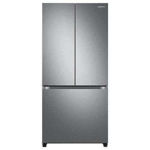 33-inch W 18 cu. ft. Smart 3-Door French Door Refrigerator in Stainless Steel, Counter Depth