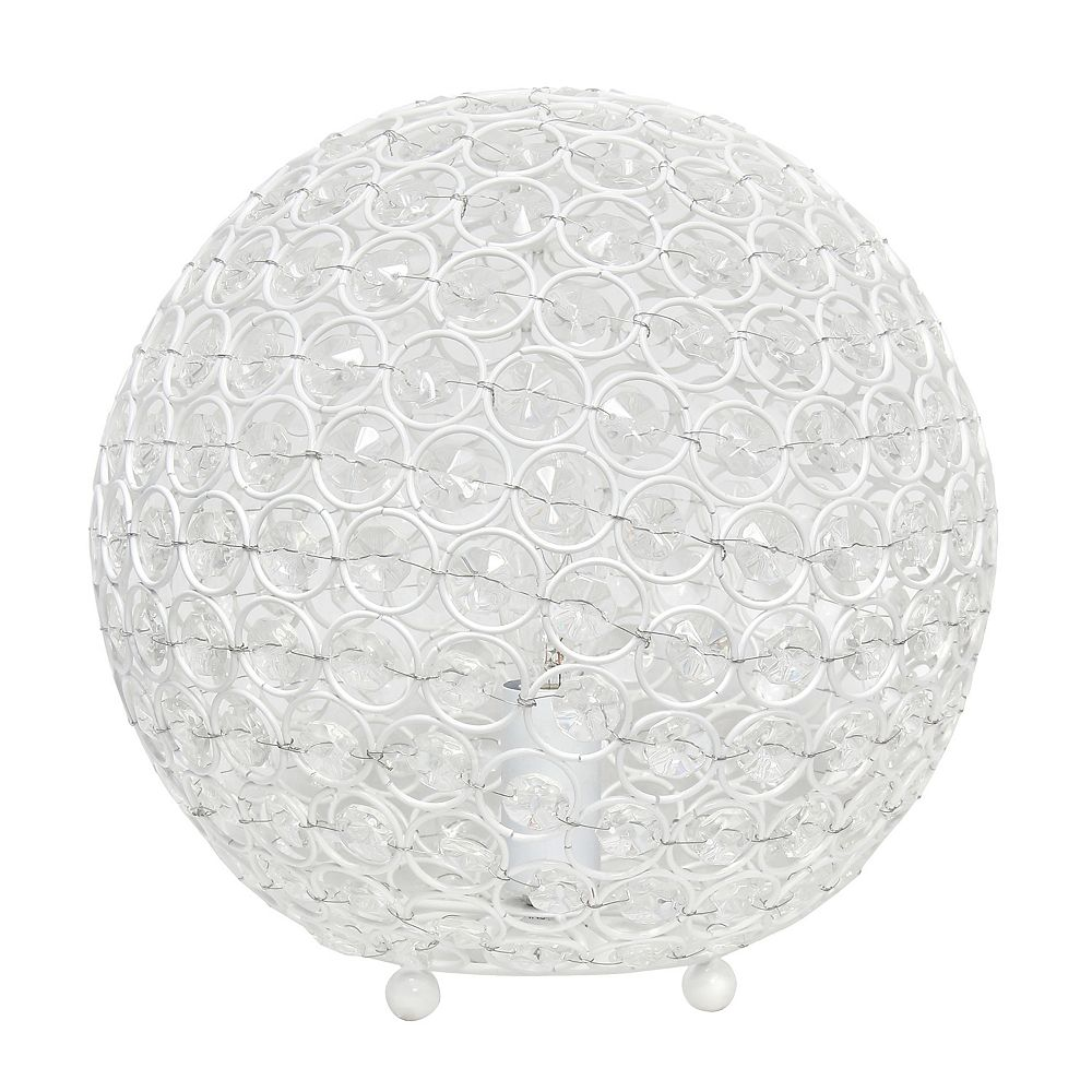 Elegant Designs 10 inch  10 Inch Crystal Ball Sequin Table Lamp, White
