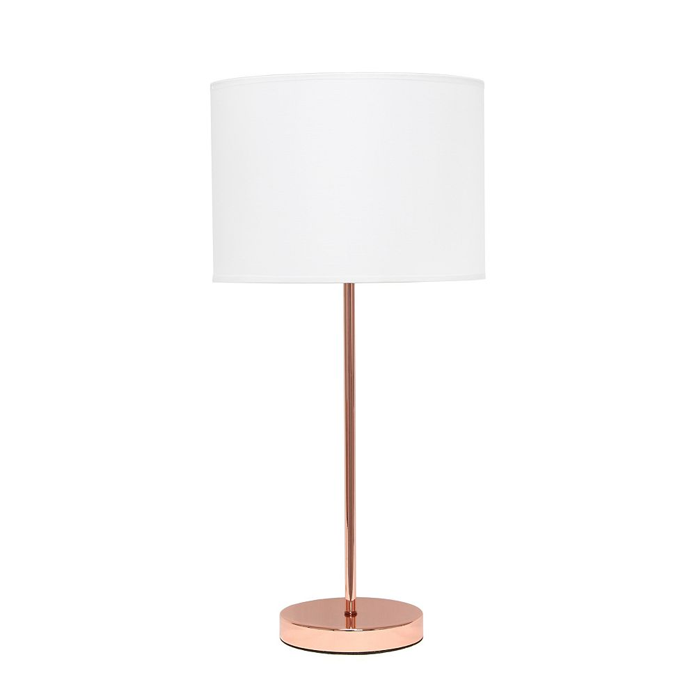 Simple Designs 22.4 inch Rose Gold Stick Lamp with White Fabric Shade