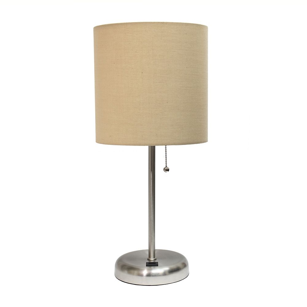 LimeLights 19.5 inch Stick Lamp with USB charging port and Fabric Shade, Tan