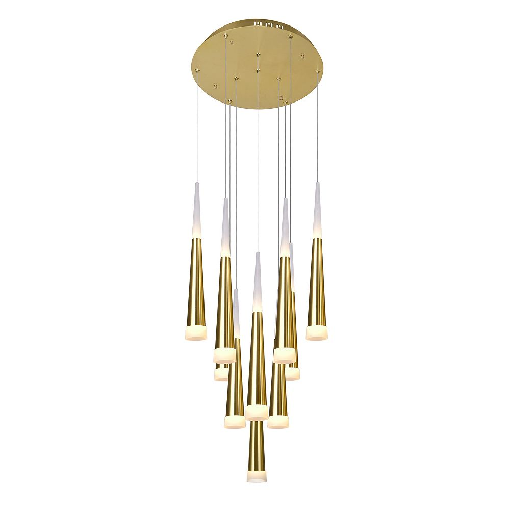 CWI Lighting 16-in LED Multi Light Pendant with Gold Leaf Finish