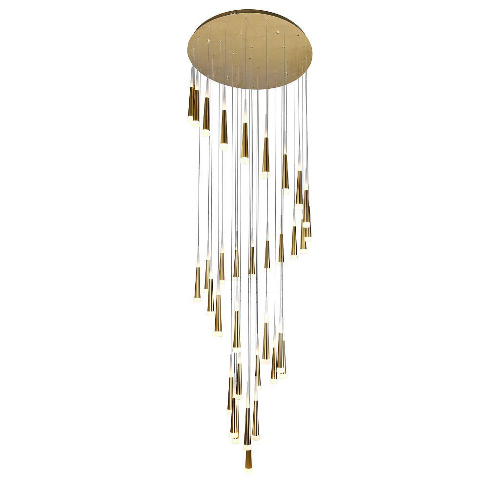 CWI Lighting 40-in 36 Light LED Multi Light Pendant with Gold Leaf Finish