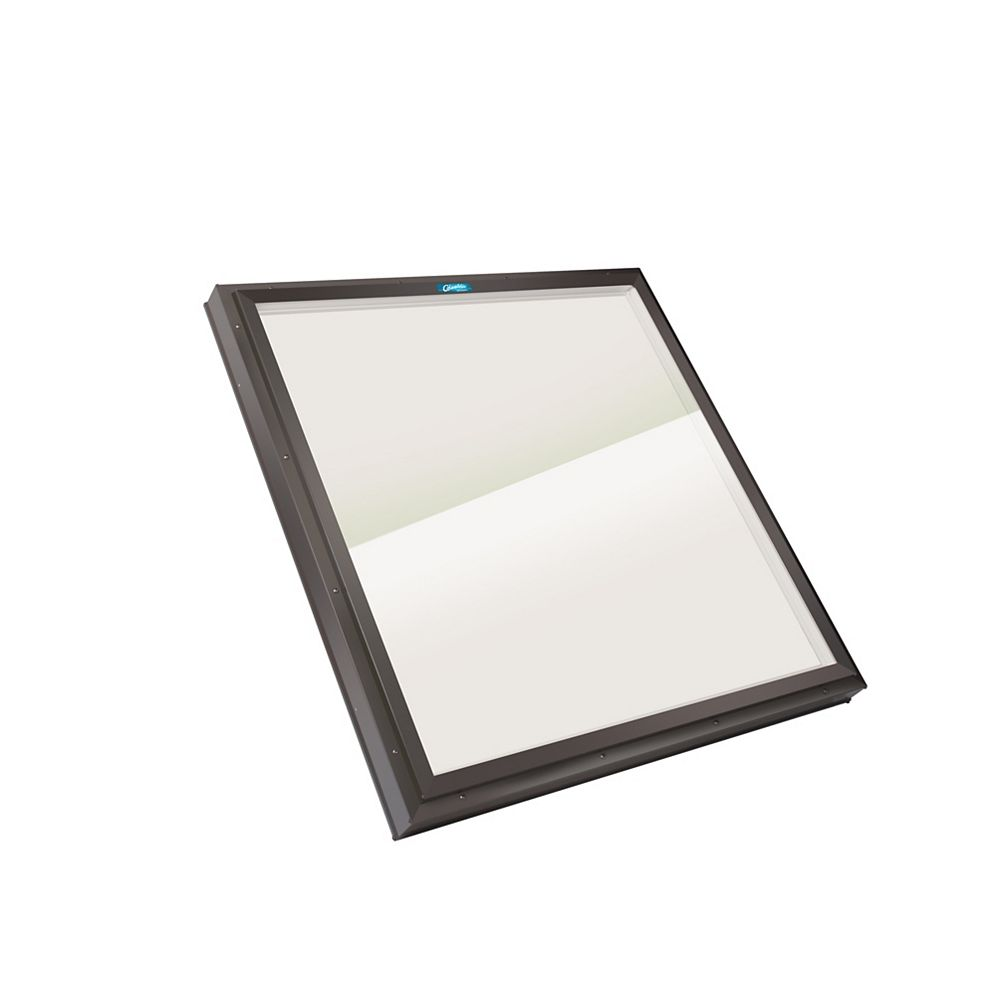 Columbia Skylights 3ft 2in x 3ft 2in Fixed Curb Mount LoE3 Double Glazed Bronze Glass Skylight with Brown Frame
