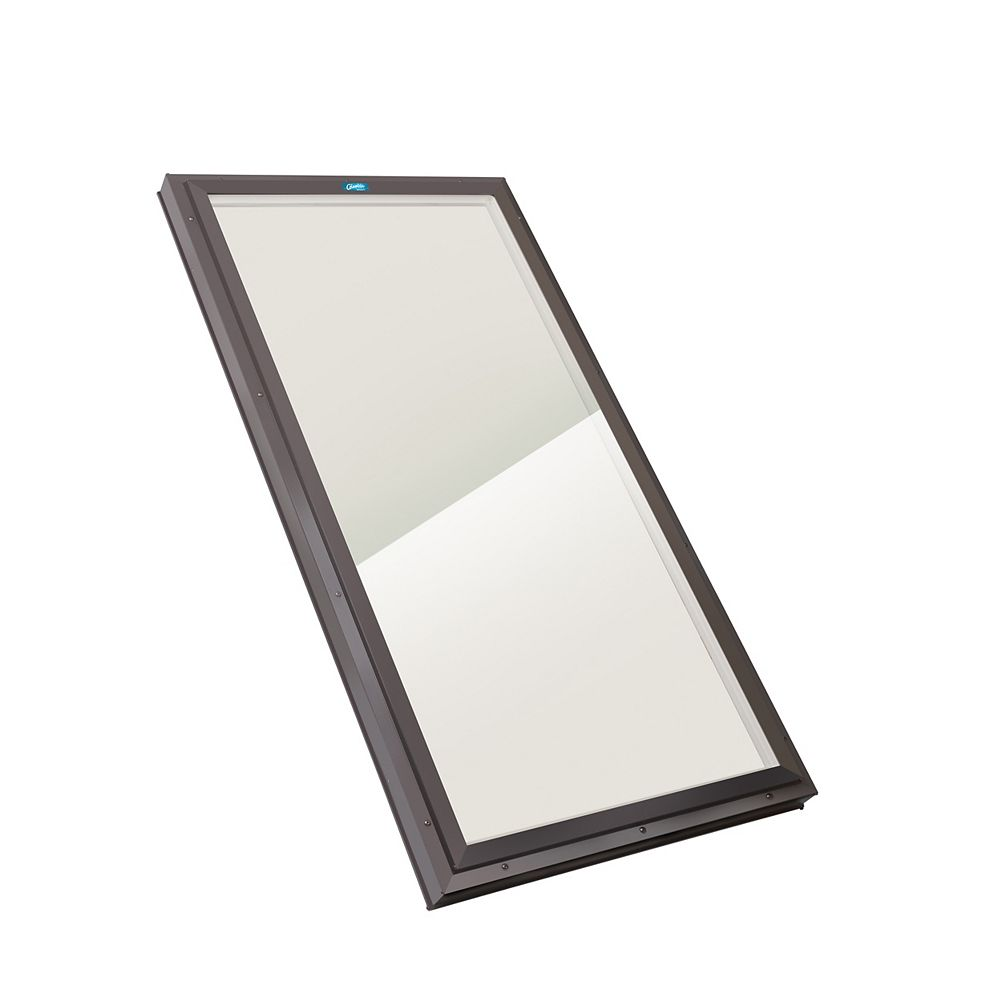Columbia Skylights 2ft x 3ft Fixed Curb Mount LoE3 Double Glazed Bronze Glass Skylight with Brown Frame
