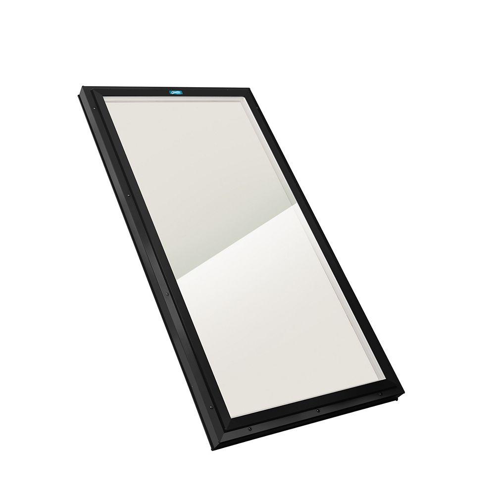 Columbia Skylights 2ft 8in x 4ft Fixed Curb Mount LoE3 Double Glazed Bronze Glass Skylight with Black Frame