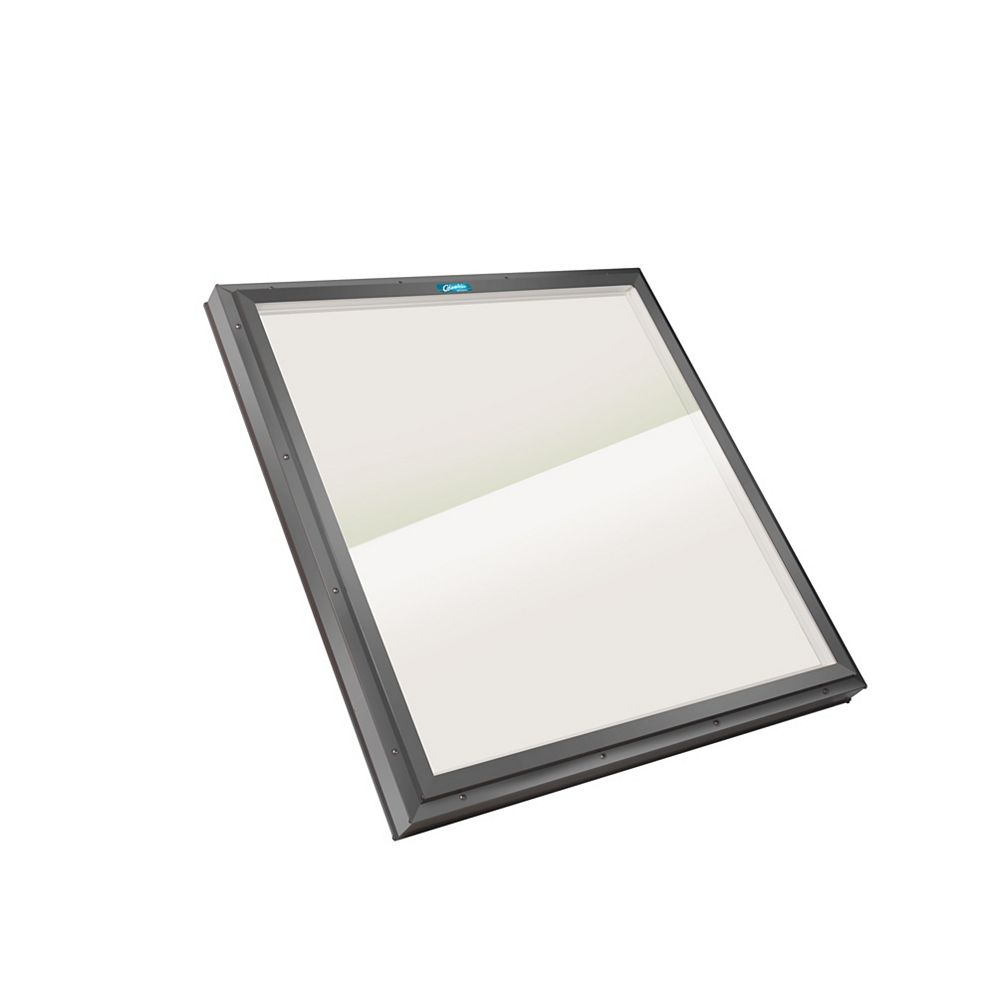 Columbia Skylights 1ft 4in x 4ft Fixed Curb Mount LoE3 Double Glazed Bronze Glass Skylight with Grey Frame