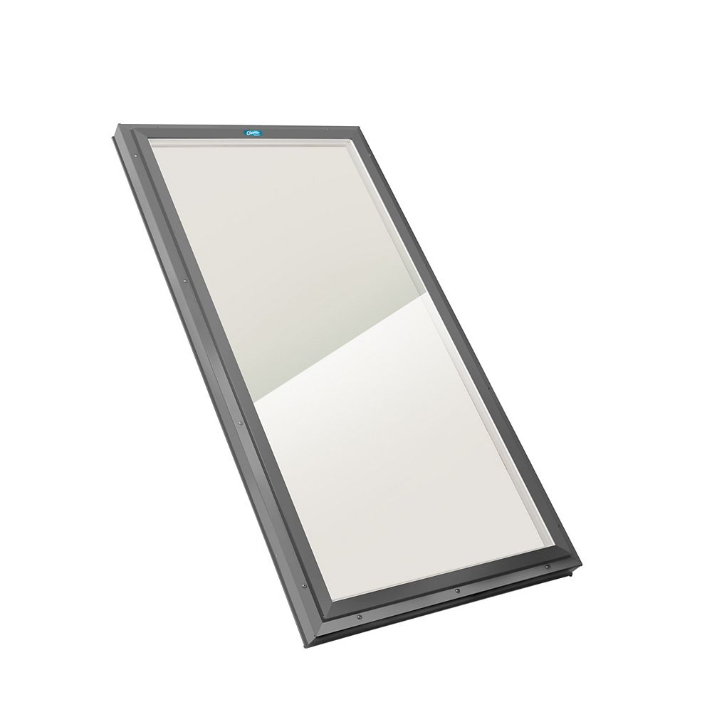 Columbia Skylights 2ft x 2ft 8in Fixed Curb Mount LoE3 Double Glazed Bronze Glass Skylight with Grey Frame