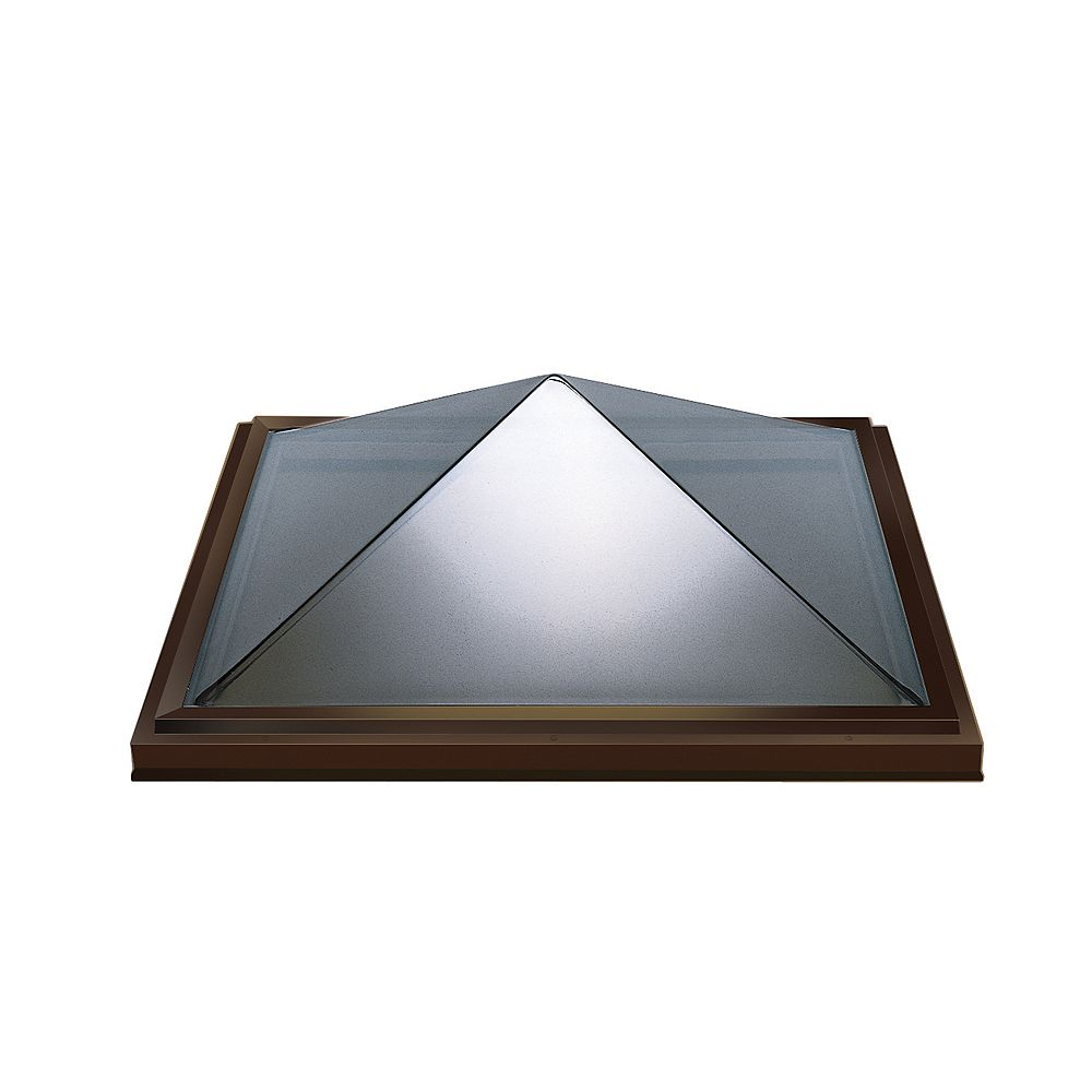 Columbia Skylights 2ft 8in x 2ft 8in Fixed Curb Mount Double Glazed Bronze Acrylic Pyramid Skylight with Brown frame