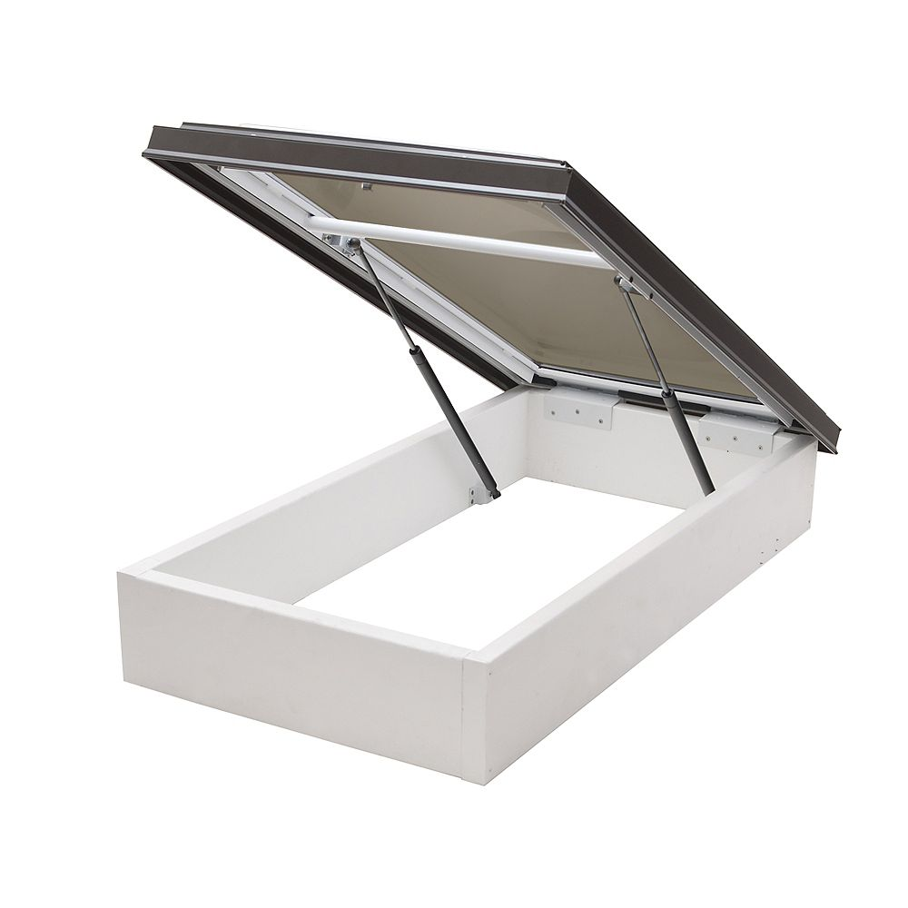 Columbia Skylights 2ft 8in x 2ft 8in Double Glazed Bronze Acrylic Dome  Roof Access Hatch in Brown Frame