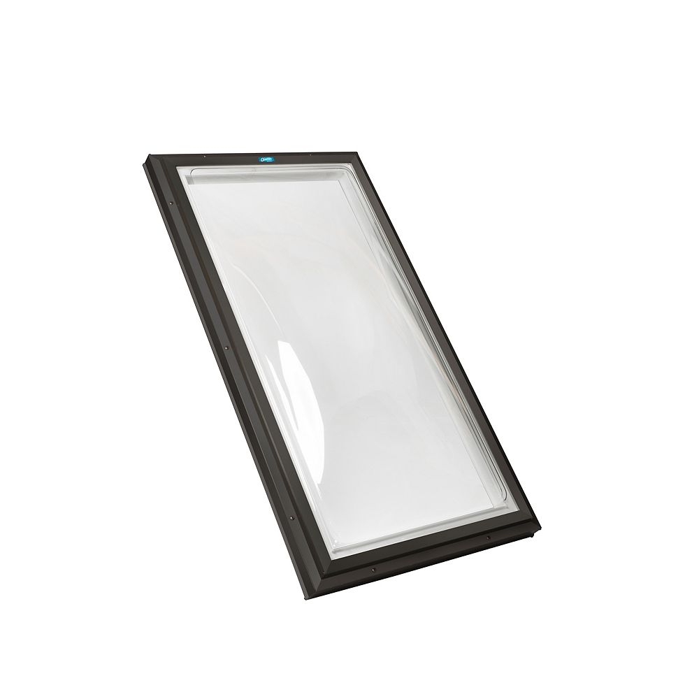 Columbia Skylights 2ft x 4ft Fixd Curb Mount Double Glazed Clear Acrylic Dome Skylight with Brown Frame