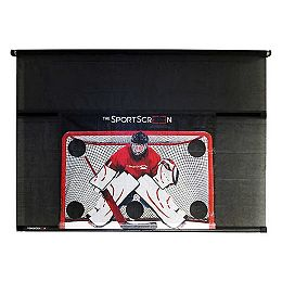 The SportScreen 3.05 m (10 ft.) Manual Screen with Detachable Hockey Target