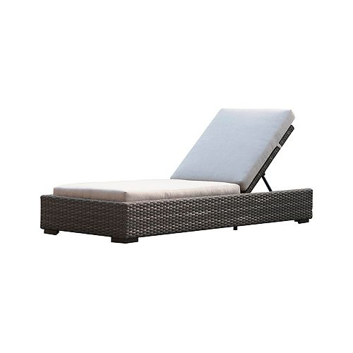 Brentwood  Wicker Patio Chaise Lounge with with Sunbrella Cast Silver Cushions