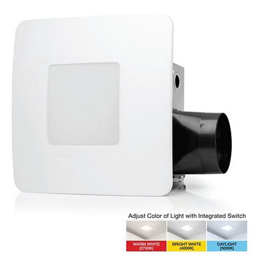 80 CFM Easy Installation Bathroom Exhaust Fan with Adjustable LED Lighting