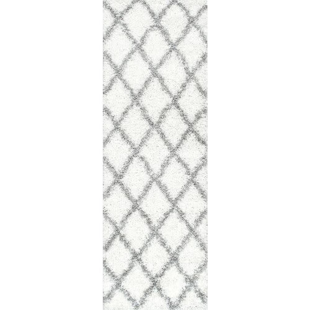 nuLOOM Shanna Shaggy White 2 ft. 6 in. x 10 ft. Indoor Runner