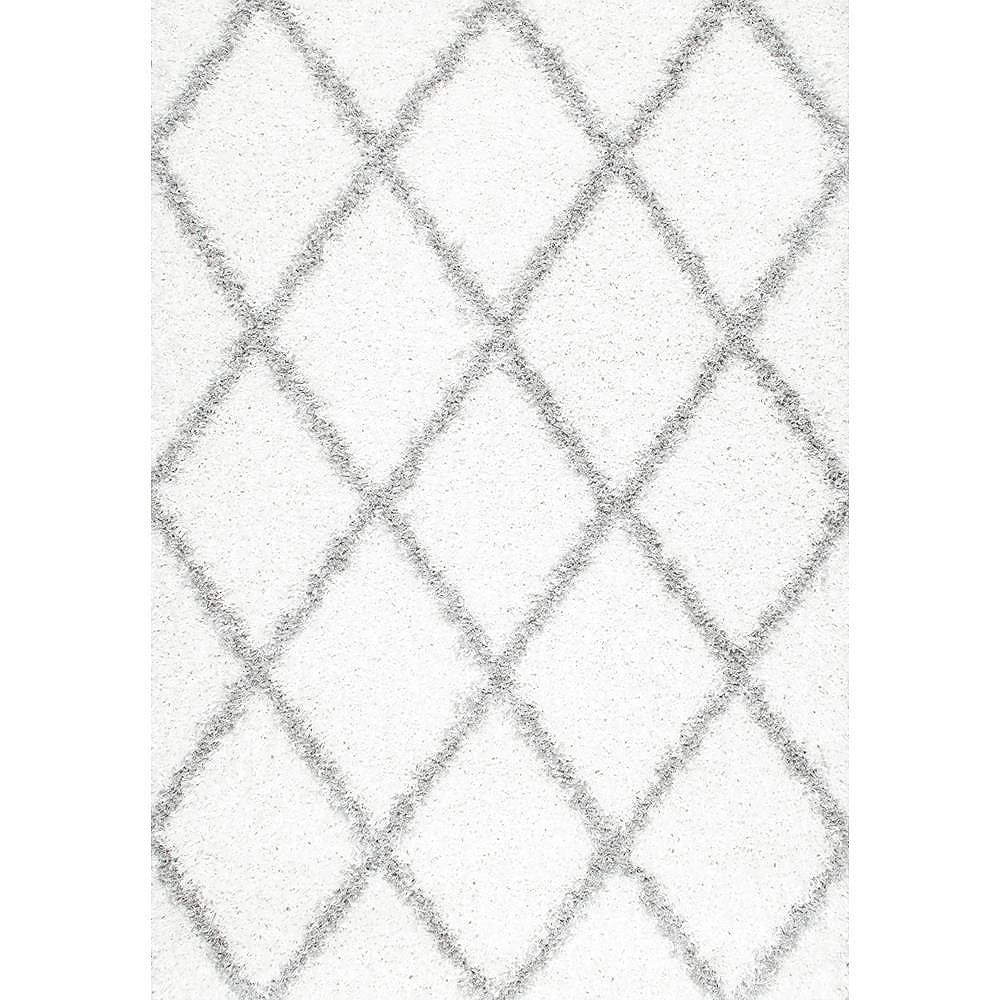 nuLOOM Shanna Shaggy White 6 ft. x 6 ft. Indoor Square Rug