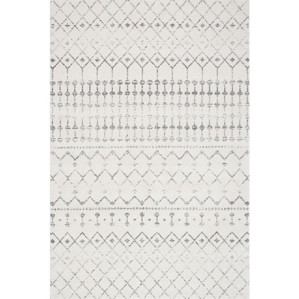 nuLOOM Moroccan Blythe Gray 5 ft. x 8 ft. Indoor Oval Rug