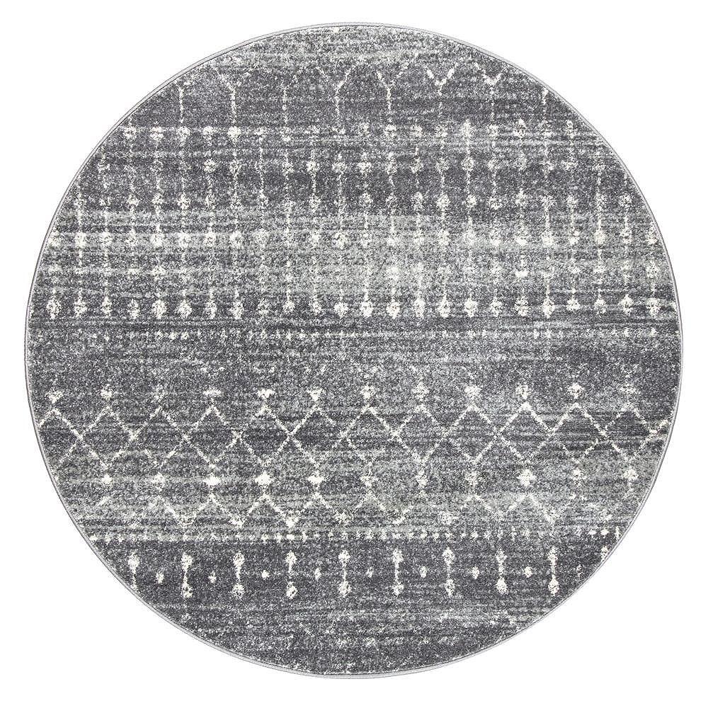 nuLOOM Moroccan Blythe Dark Gray 10 ft. x 10 ft. Indoor Round Rug