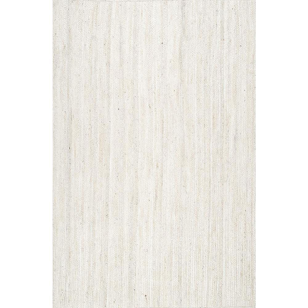 nuLOOM Hand Woven Rigo Jute Off White 6 ft. x 9 ft. Indoor Oval Rug