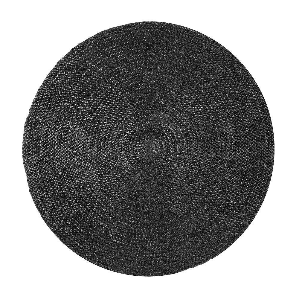 nuLOOM Hand Woven Rigo Jute Black 4 ft. x 4 ft. Indoor Round Rug