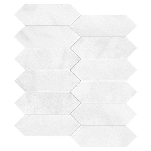 Mosaïque de marbre Paletto Bianco poli en forme de latte de 10,16 cm x 15,24 cm