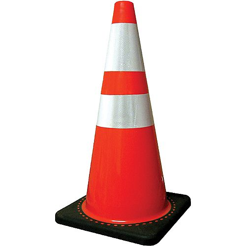 28 inch Traffic Cone with 5lb Base and Reflective Collar