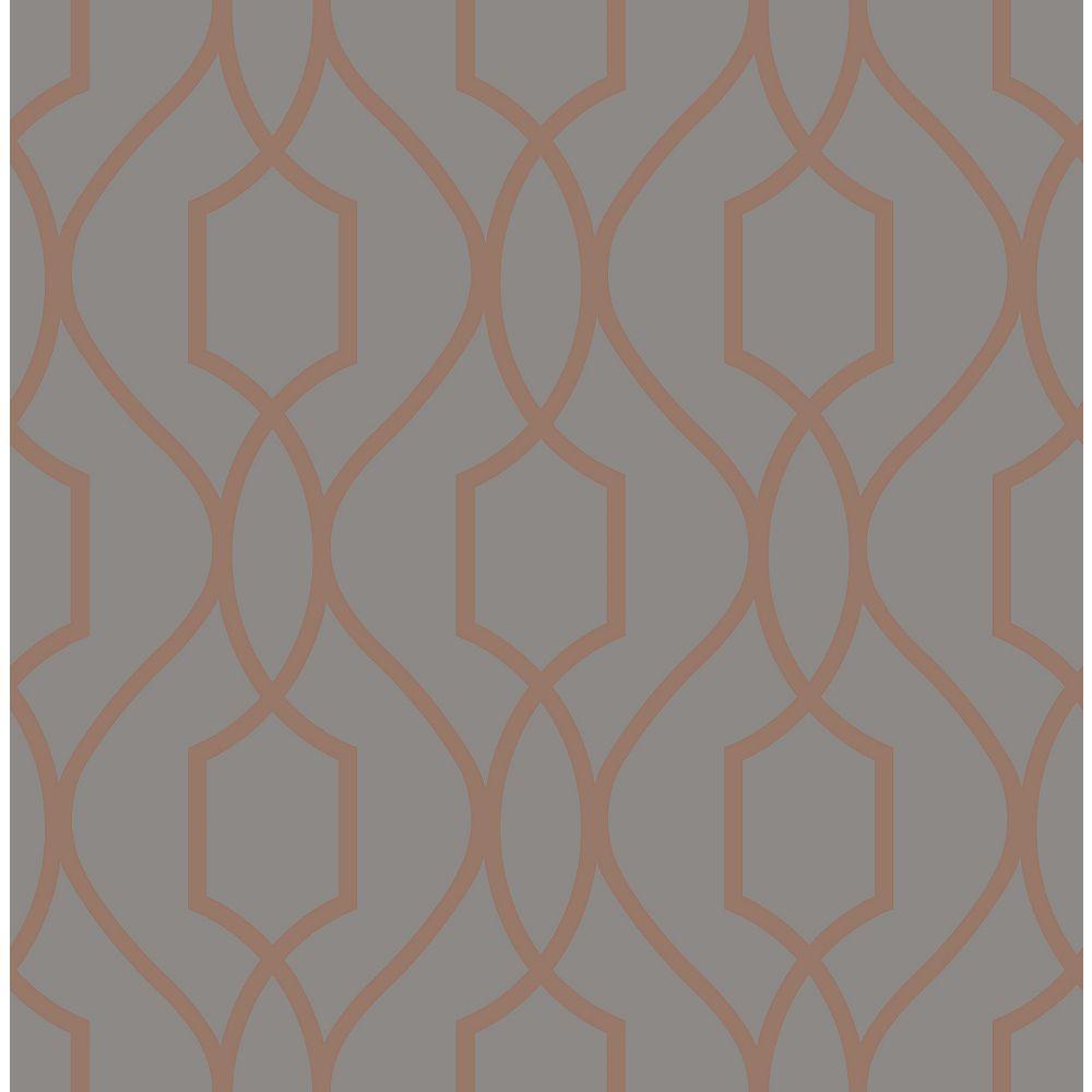 Brewster Home Fashions Chester Grey Trellis Wallpaper