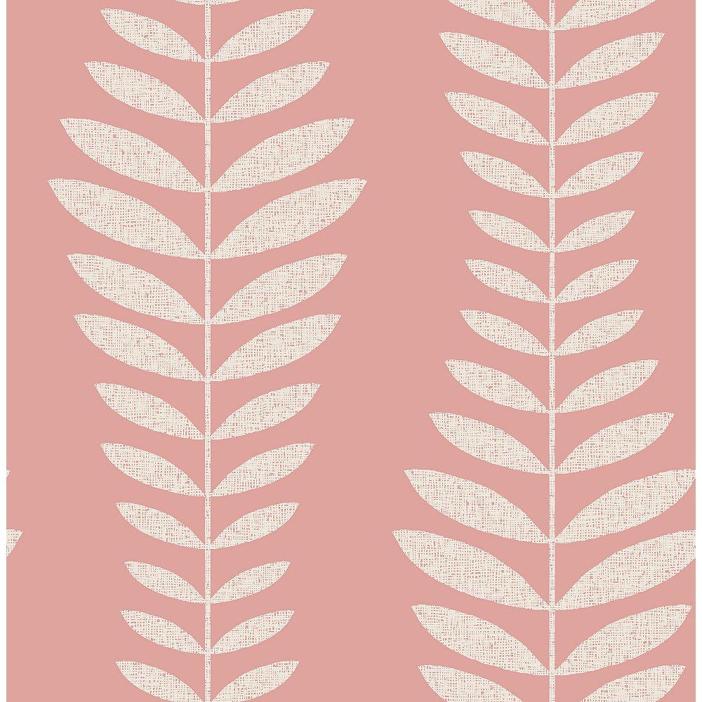 Brewster Home Fashions Sandnes Coral Leaf Stripe Wallpaper