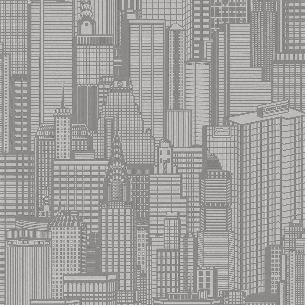 Advantage Aston Grey City Wallpaper