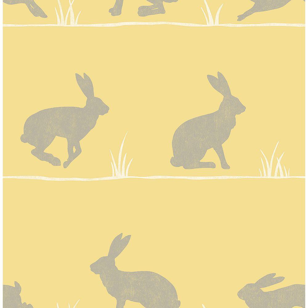 Fine Decor Nell Mustard Rabbit Wallpaper