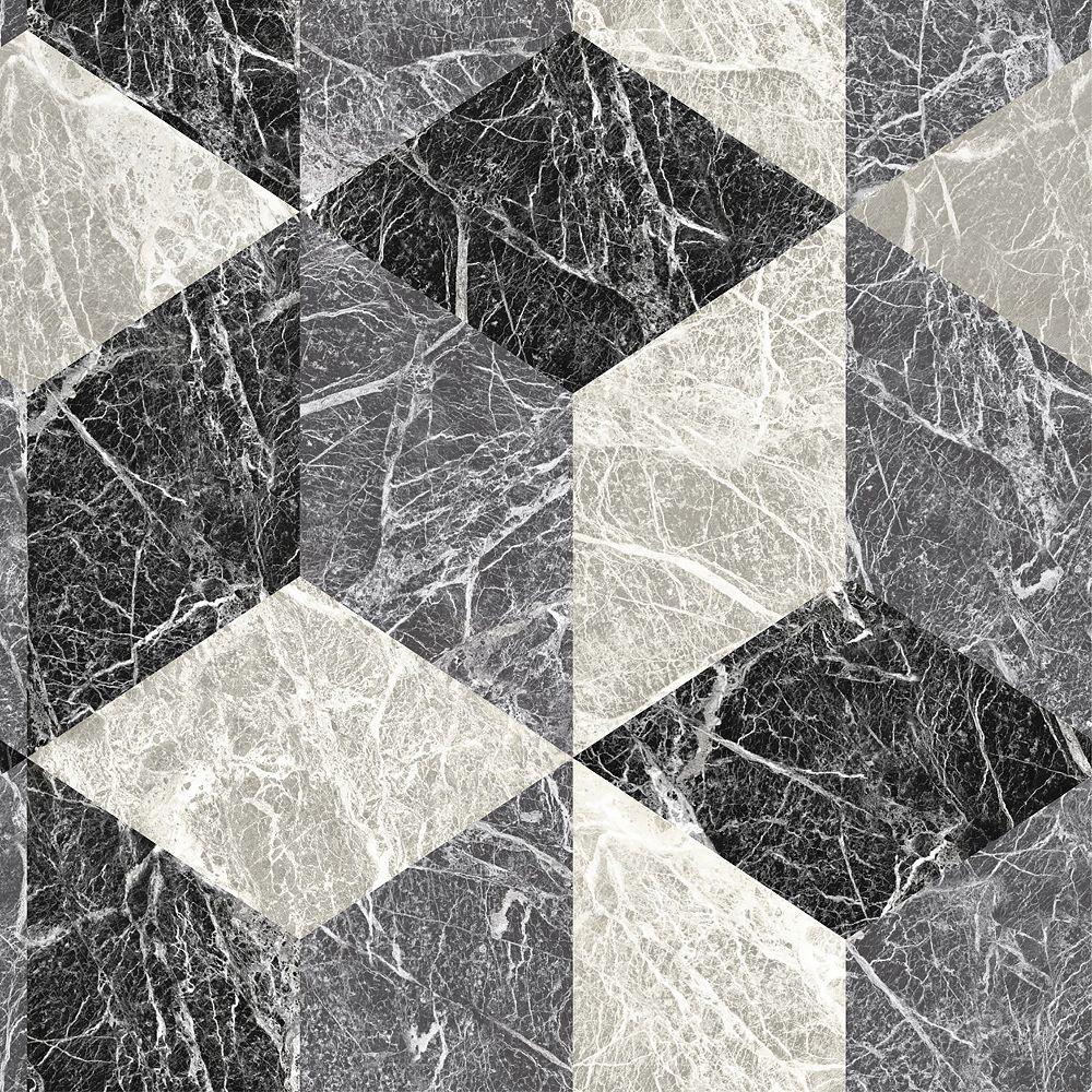 Origin Rizzo Black Geometric Stone Wallpaper