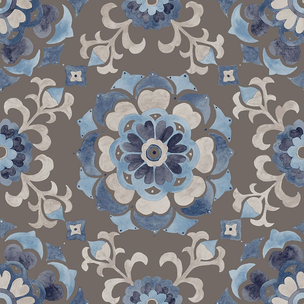 Origin Tracy Blue Medallion Wallpaper