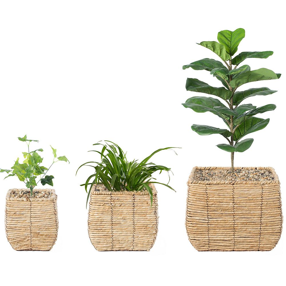 Vintiquewise Woven Square Flower Pot Planter with Leak-Proof Plastic Lining- Set of 3