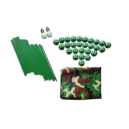 Funphix Corp Funphix 93 Pc Super Soldier Army Kit -Age 5+ Fort Building Kit-Green Poles, Army Sheet & Lights.