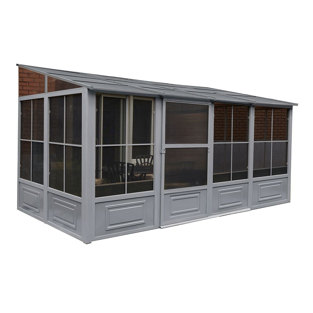 Gazebo Penguin Florence Add-A-Room with Metal Roof 8 Ft. x 16 Ft.  in Slate