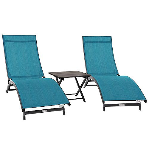 Coral Springs 3pc Aluminum Lounger Set in Blue Hawaii