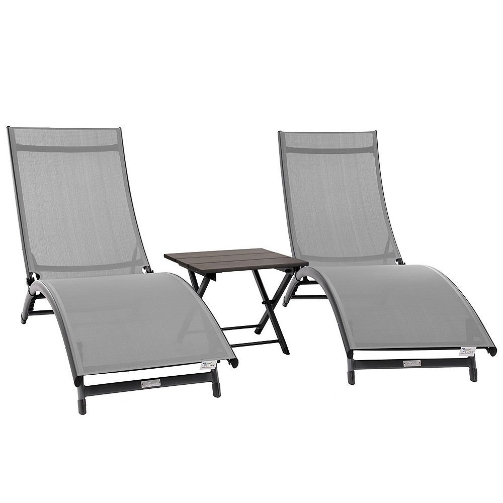 Vivere Coral Springs 3pc Aluminum Lounger Set in River Pebble