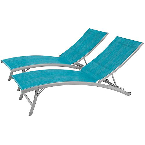 Clearwater 6 Position Aluminum Lounger wtih Wheel 2pc Set in Blue Hawaii