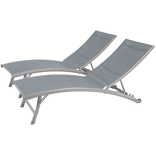 Clearwater Aluminum Lounger wtih Wheel 2pc Set in River Pebble