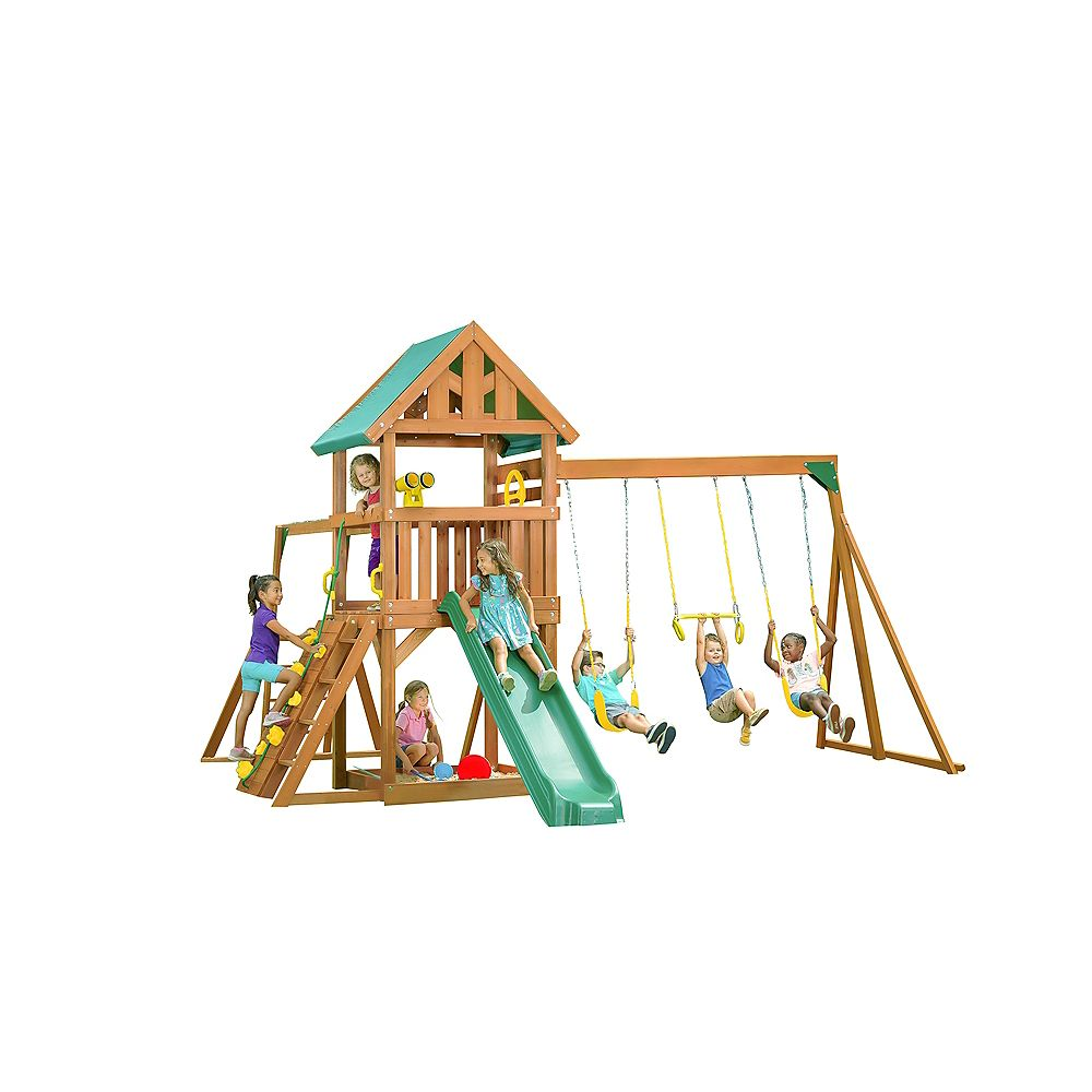 Creative Cedar Designs Mountain View Playset w/ Tarp Roof & Yellow Accessories, Green Slide