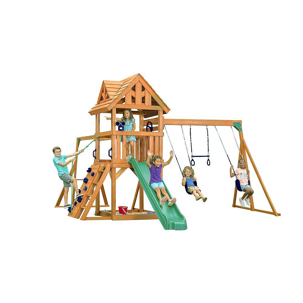 Creative Cedar Designs Mountain View Lodge Playset w/ Wooden Roof & Blue Accessories, Green Slide