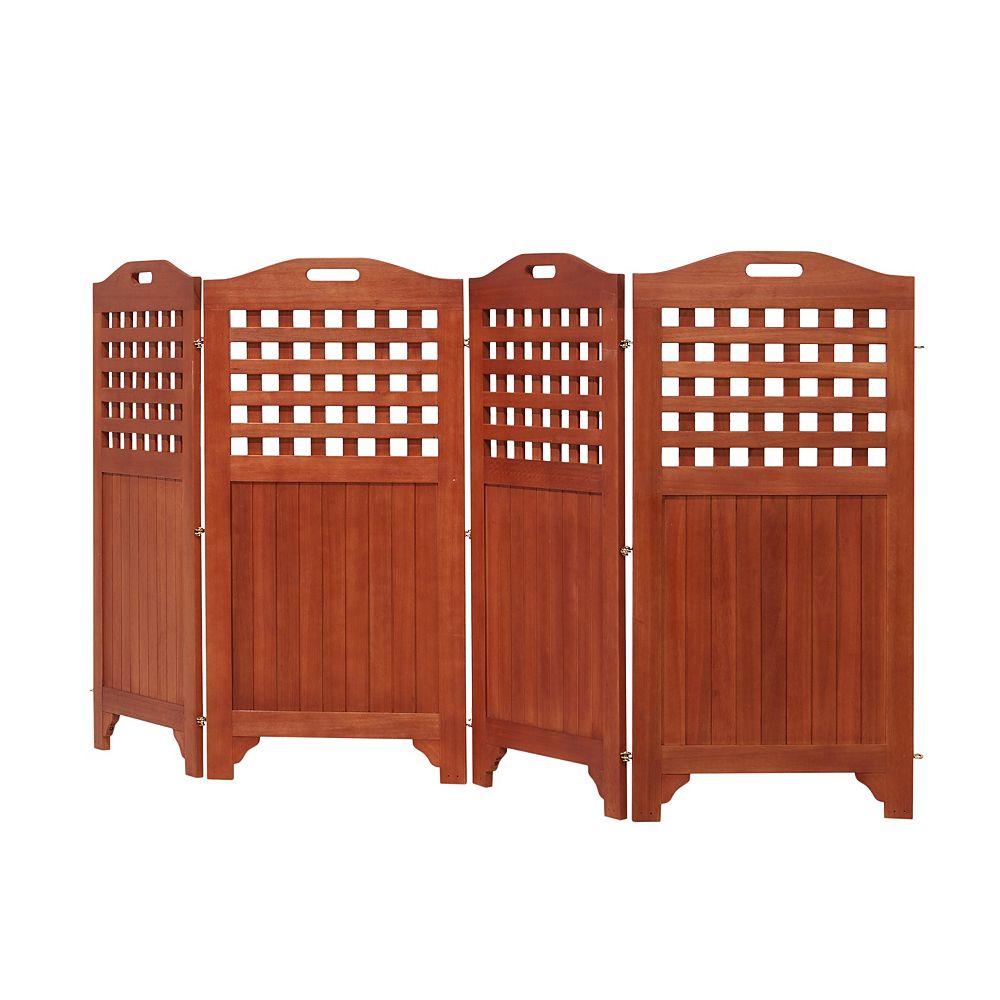 "Vifah Malibu Outdoor Wood Privacy Screen with 4 Panels - 46"""