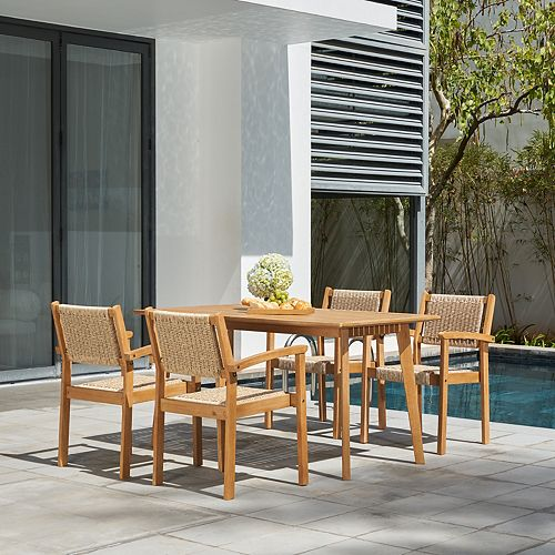 Chesapeake Outdoor Natural 5-Piece Wood Dining Set